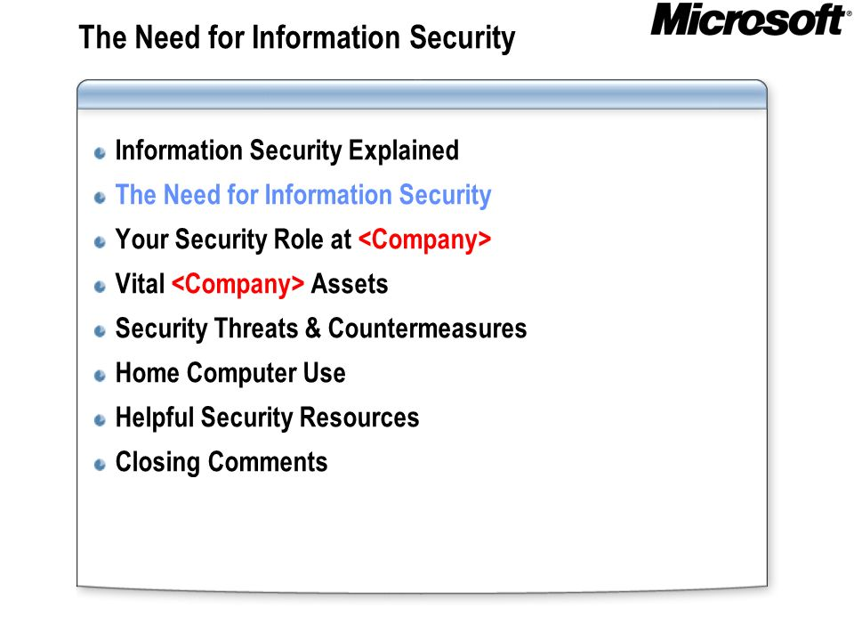 The Need for Information Security