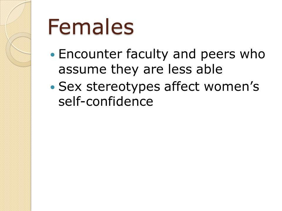 Females Encounter faculty and peers who assume they are less able