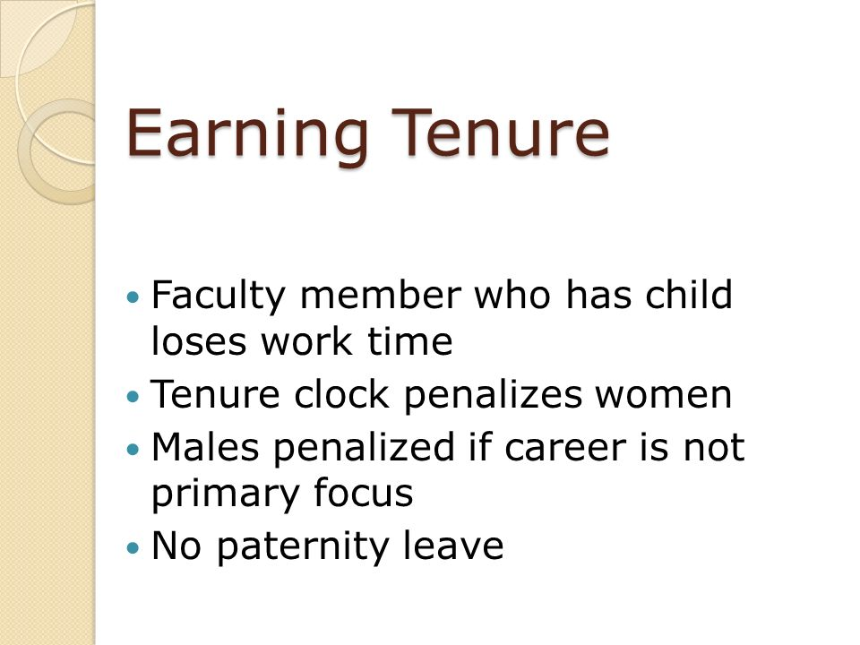 Earning Tenure Faculty member who has child loses work time