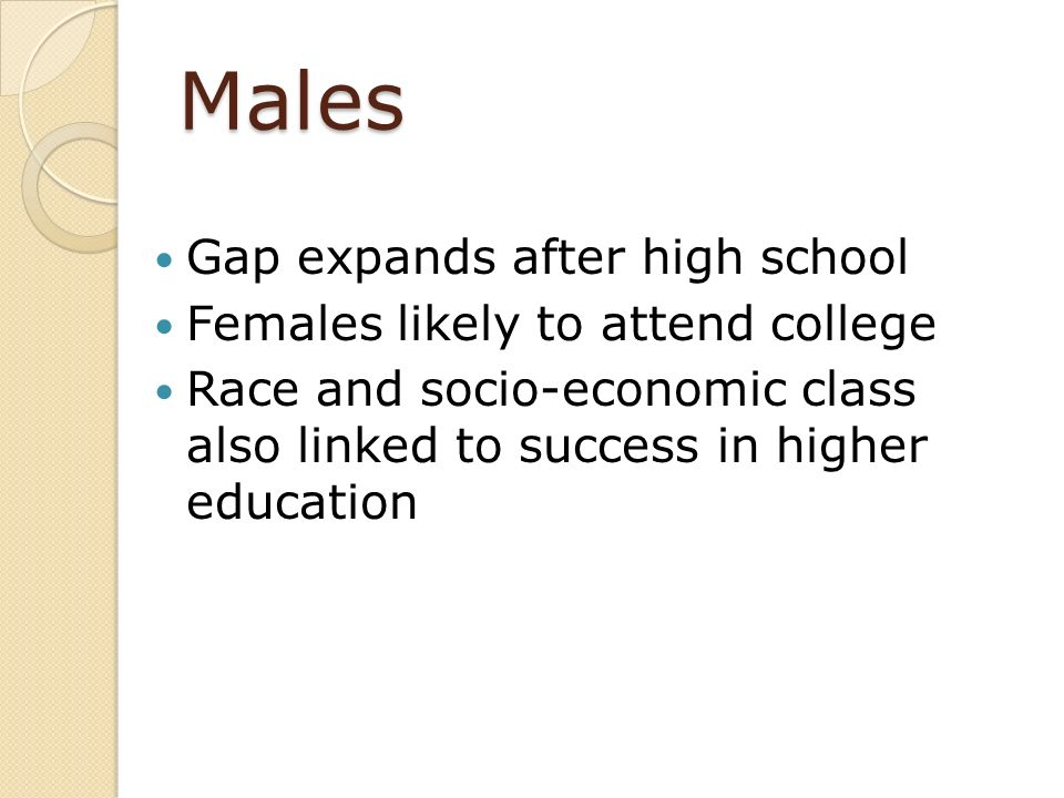 Males Gap expands after high school Females likely to attend college