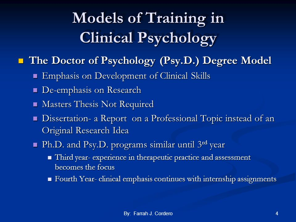 Models of Training in Clinical Psychology