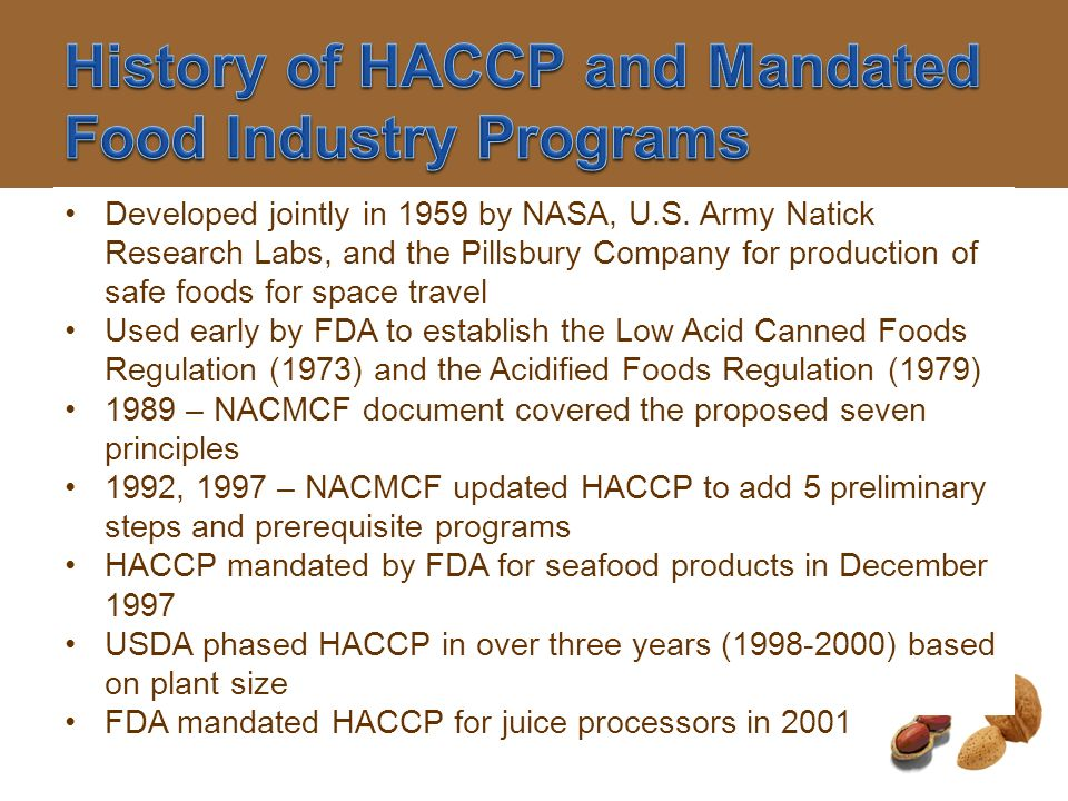 History of HACCP and Mandated Food Industry Programs