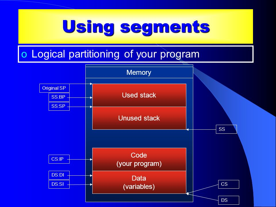 Using segments Logical partitioning of your program Memory Used stack