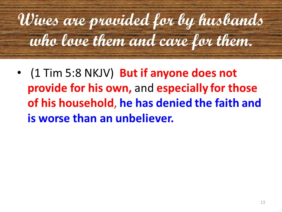 Wives are provided for by husbands who love them and care for them.