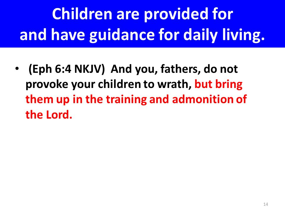 Children are provided for and have guidance for daily living.