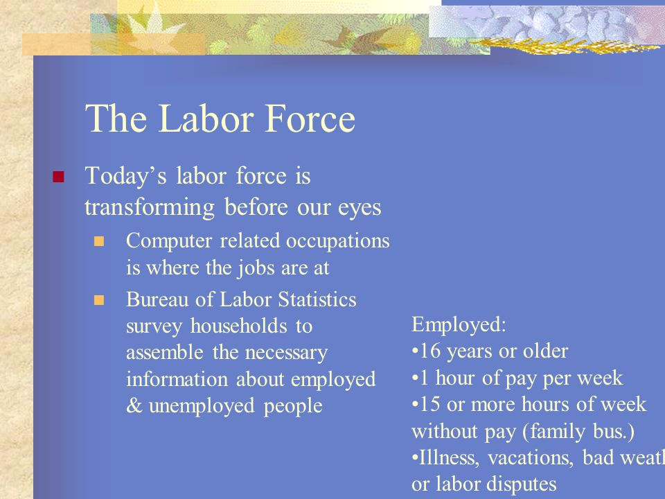 The Labor Force Today's labor force is transforming before our eyes