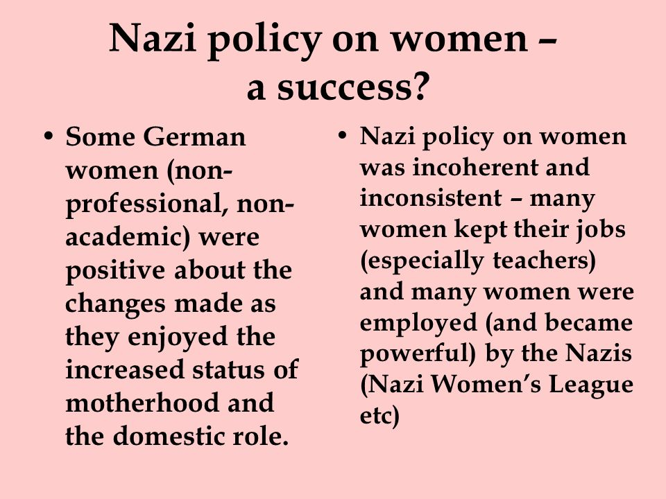 Nazi policy on women – a success