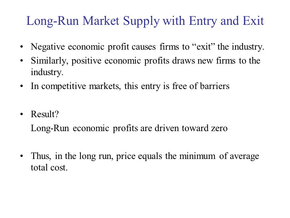 Long-Run Market Supply with Entry and Exit