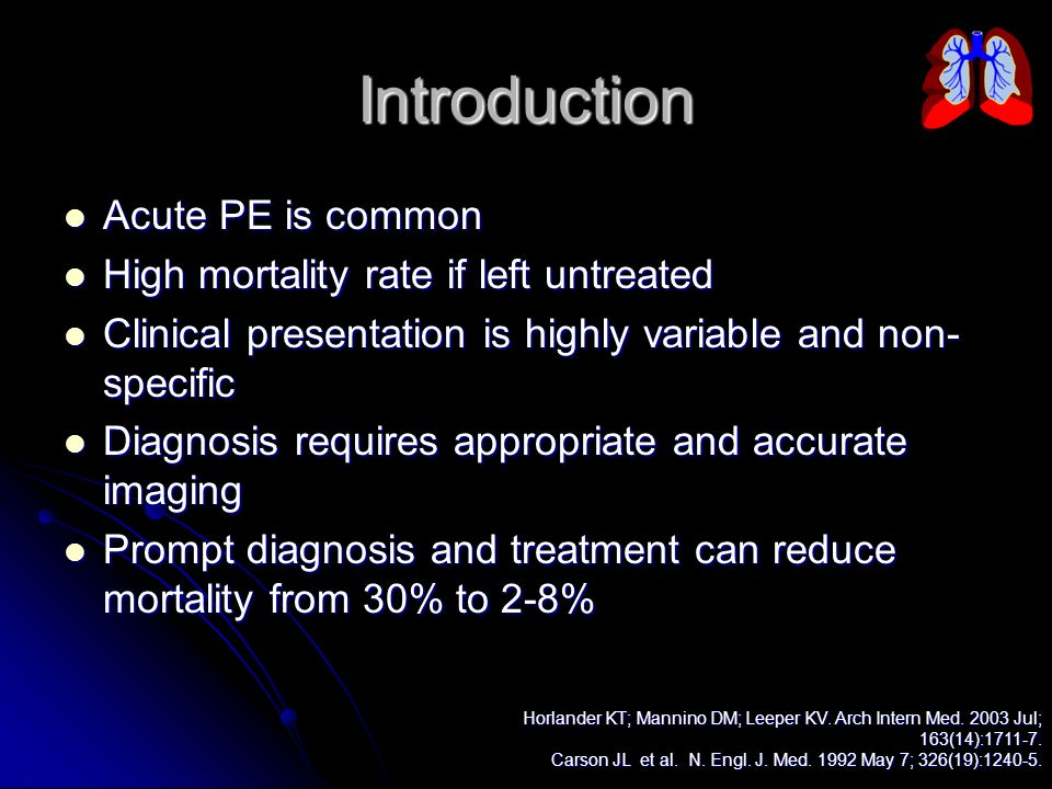 Introduction Acute PE is common High mortality rate if left untreated