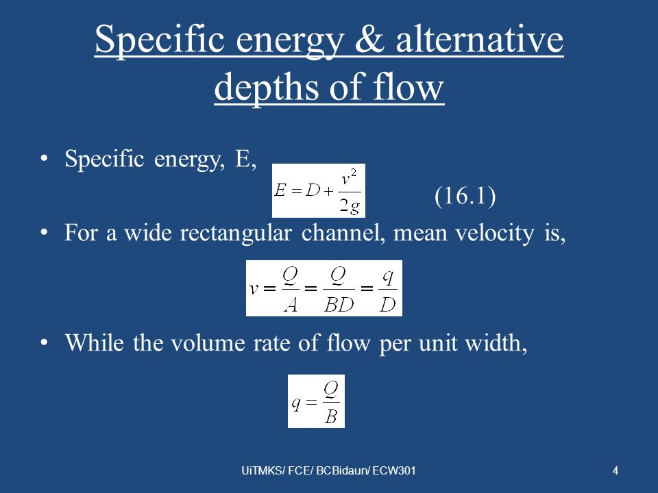 Specific energy & alternative depths of flow