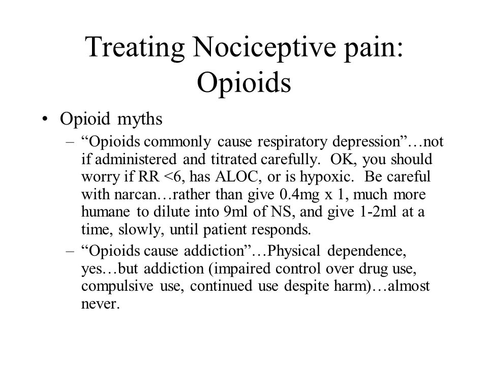 Treating Nociceptive pain: Opioids