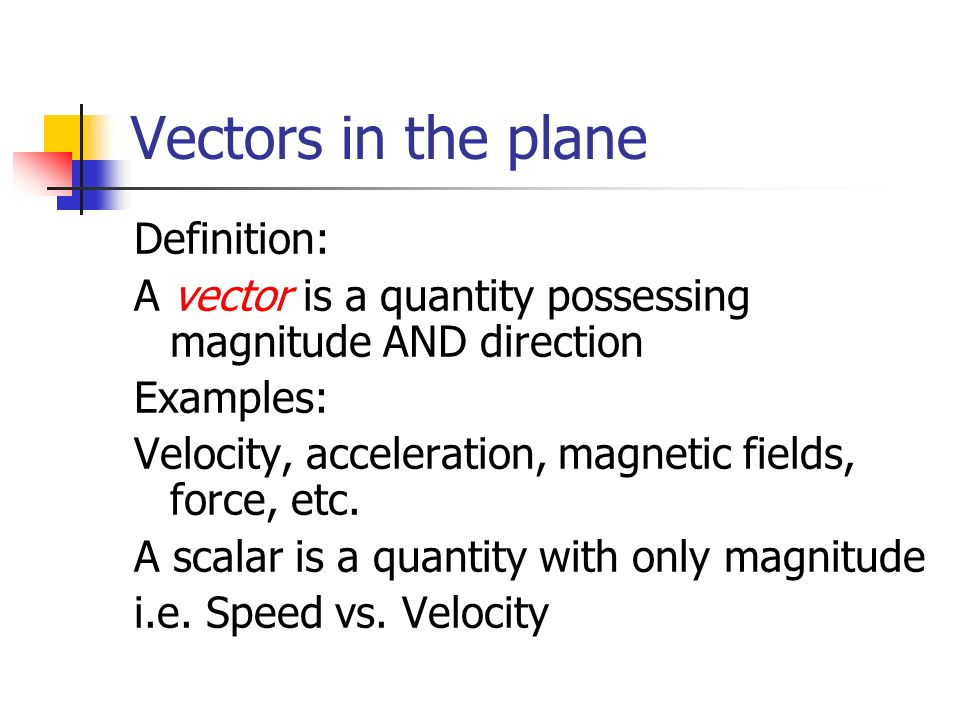 Vectors in the plane Definition: