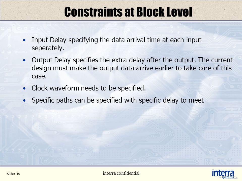 Constraints at Block Level