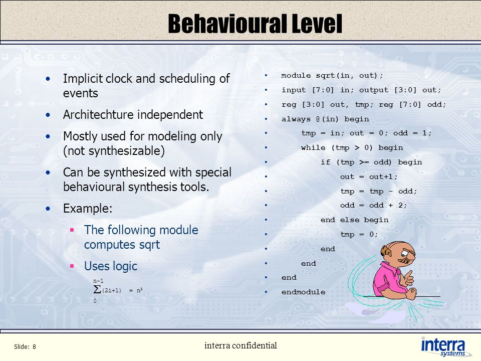 Behavioural Level Implicit clock and scheduling of events