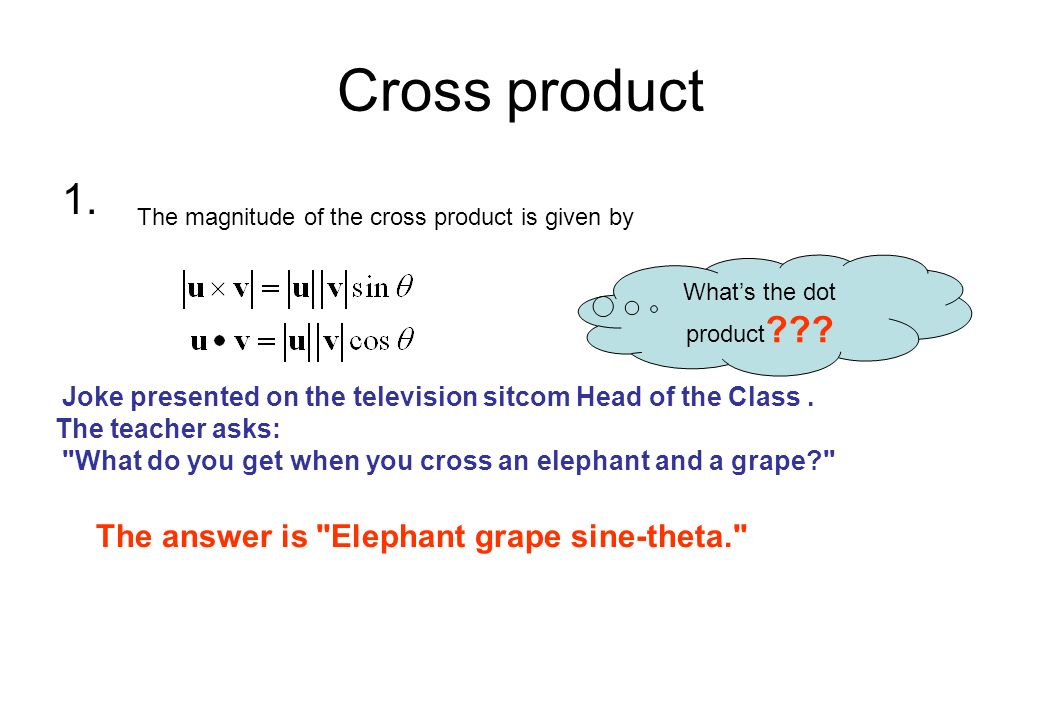 Cross product 1. The answer is Elephant grape sine-theta.