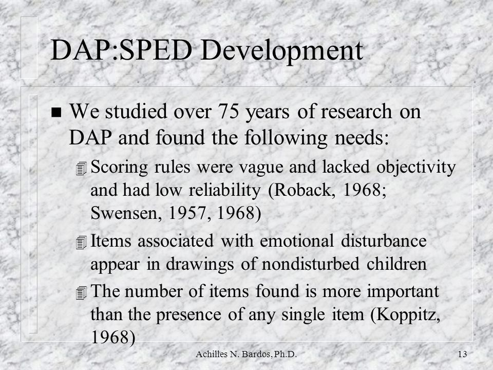 DAP:SPED Development We studied over 75 years of research on DAP and found the following needs: