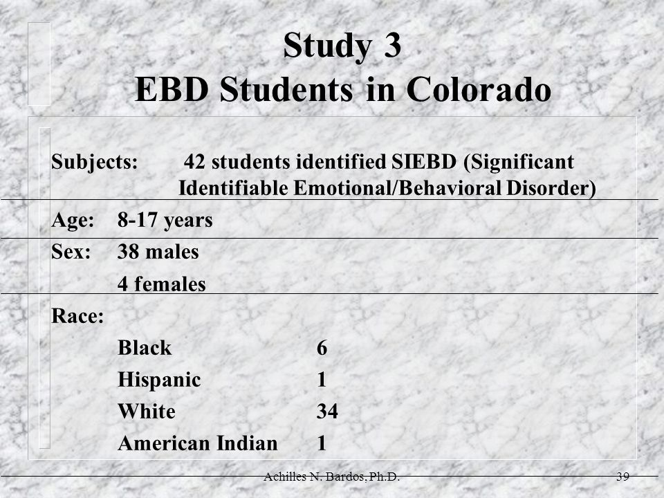 Study 3 EBD Students in Colorado