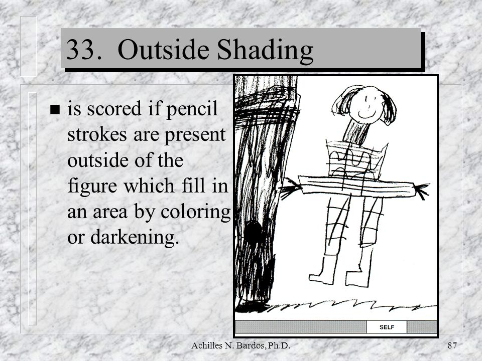 33. Outside Shading is scored if pencil strokes are present outside of the figure which fill in an area by coloring or darkening.