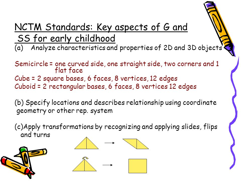 NCTM Standards: Key aspects of G and SS for early childhood