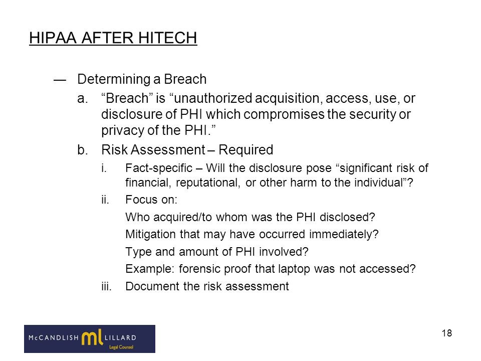 HIPAA AFTER HITECH Determining a Breach