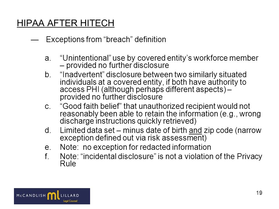 HIPAA AFTER HITECH Exceptions from breach definition