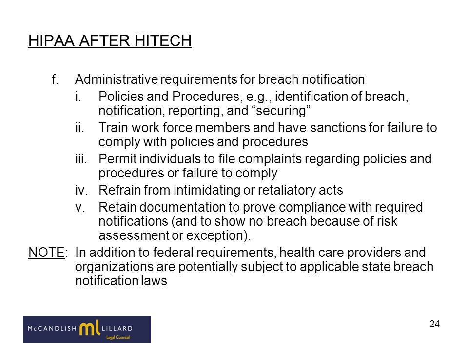 HIPAA AFTER HITECH Administrative requirements for breach notification