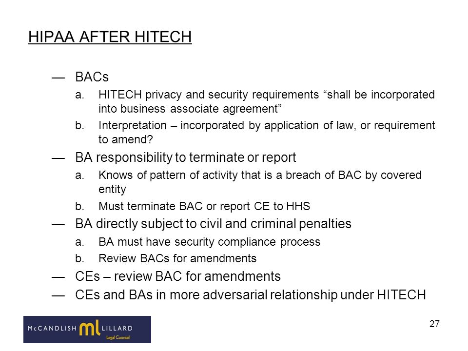 HIPAA AFTER HITECH BACs BA responsibility to terminate or report