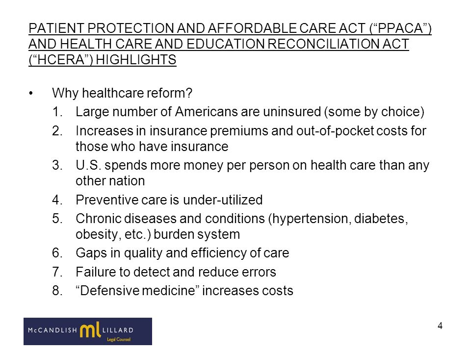 PATIENT PROTECTION AND AFFORDABLE CARE ACT ( PPACA ) AND HEALTH CARE AND EDUCATION RECONCILIATION ACT ( HCERA ) HIGHLIGHTS