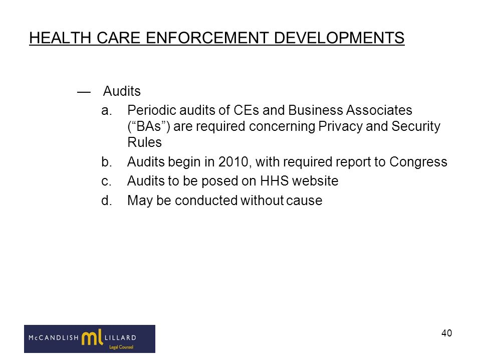HEALTH CARE ENFORCEMENT DEVELOPMENTS
