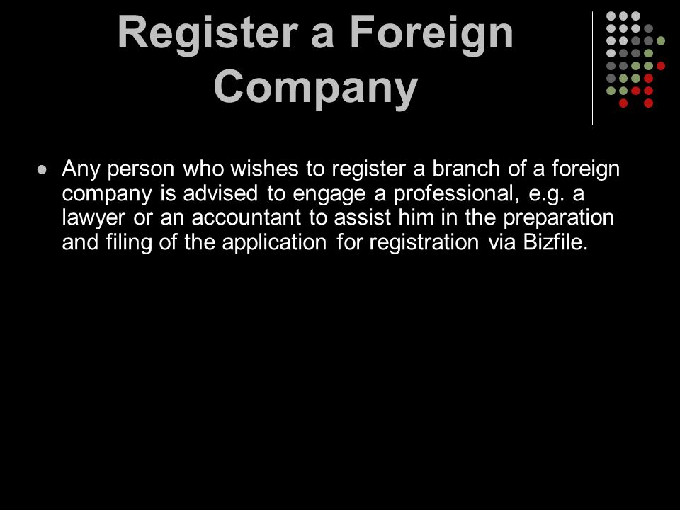 Register a Foreign Company