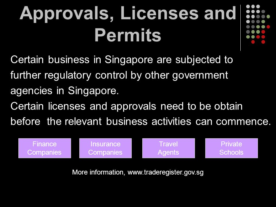 Approvals, Licenses and Permits