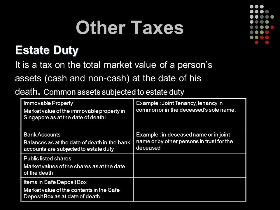 Other Taxes Estate Duty