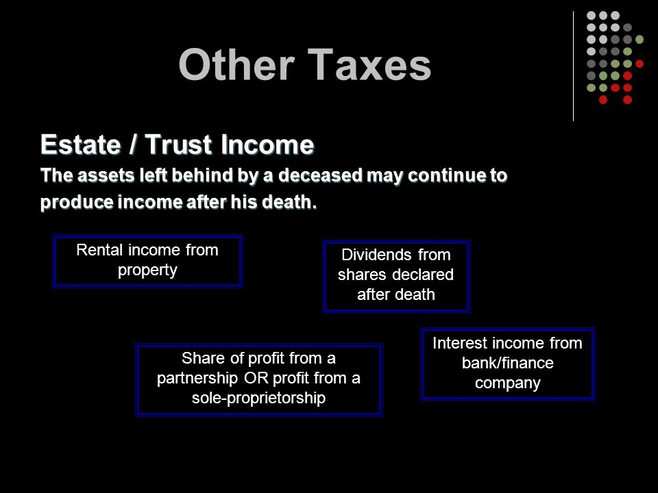 Other Taxes Estate / Trust Income
