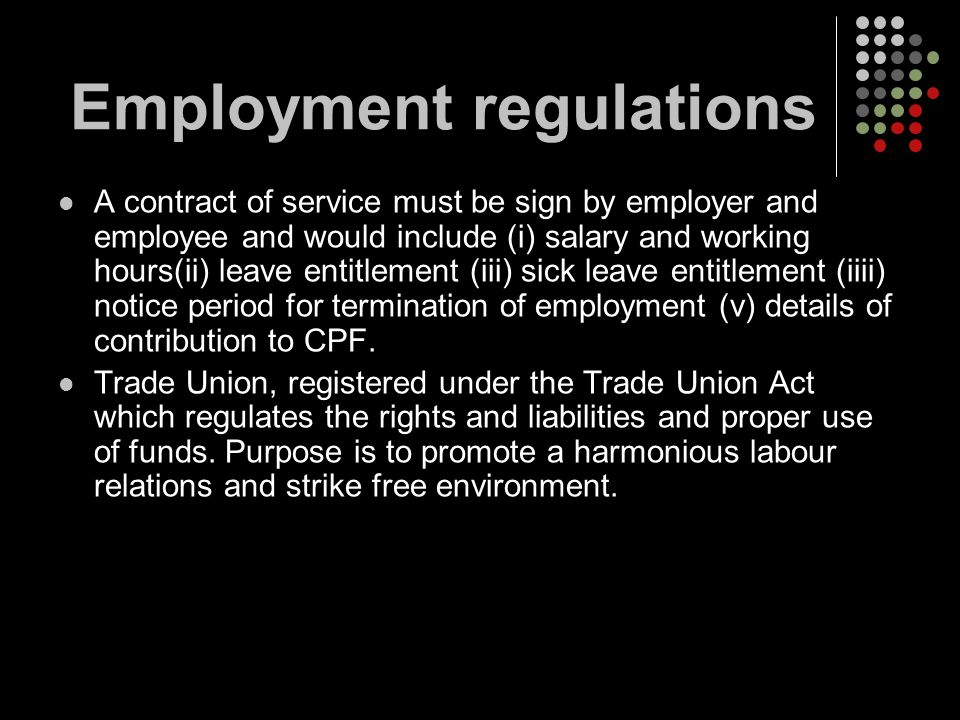 Employment regulations