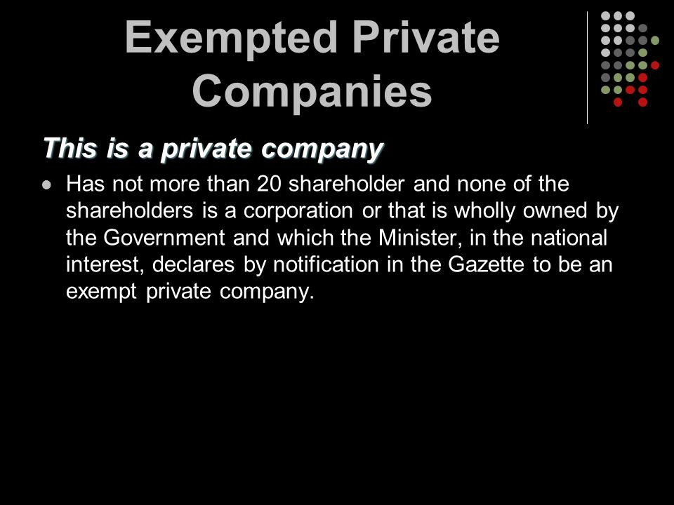 Exempted Private Companies