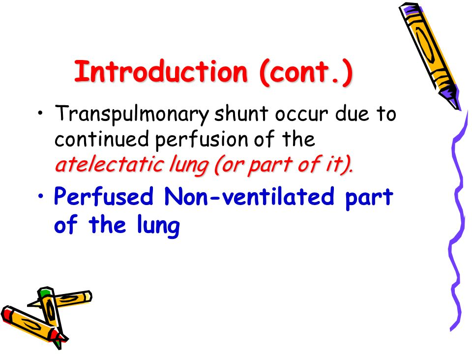 Introduction (cont.) Perfused Non-ventilated part of the lung