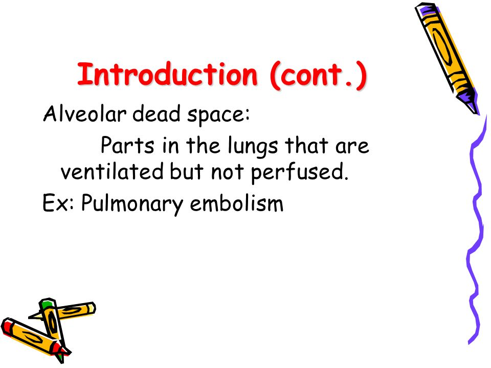 Introduction (cont.) Alveolar dead space: