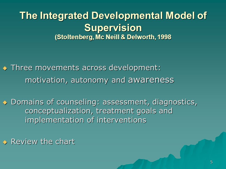 The Integrated Developmental Model of Supervision (Stoltenberg, Mc Neill & Delworth, 1998