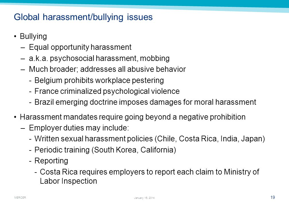 Global harassment/bullying issues