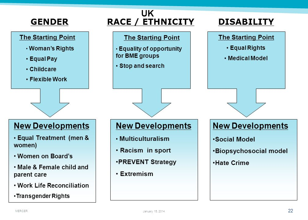 UK GENDER RACE / ETHNICITY DISABILITY New Developments