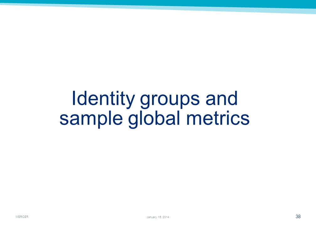 Identity groups and sample global metrics