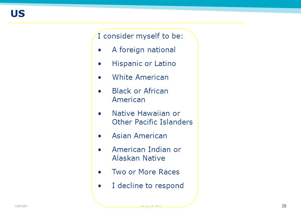 US I consider myself to be: A foreign national Hispanic or Latino