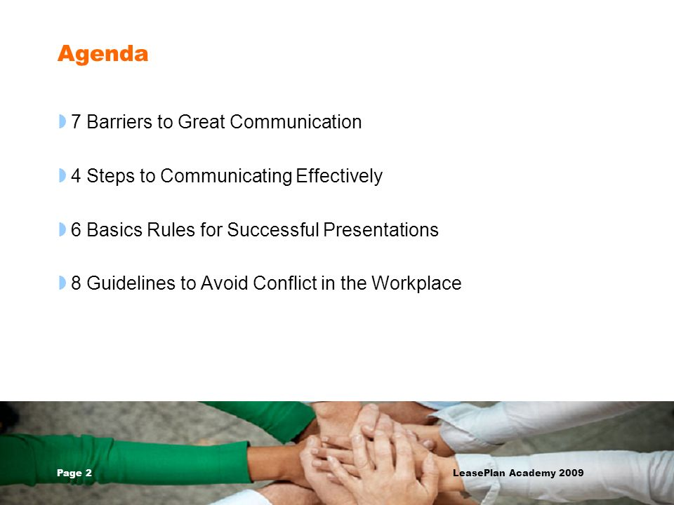 Agenda 7 Barriers to Great Communication