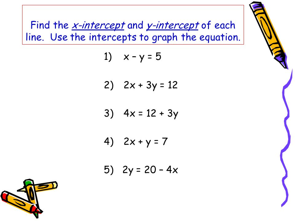 Find the x-intercept and y-intercept of each line