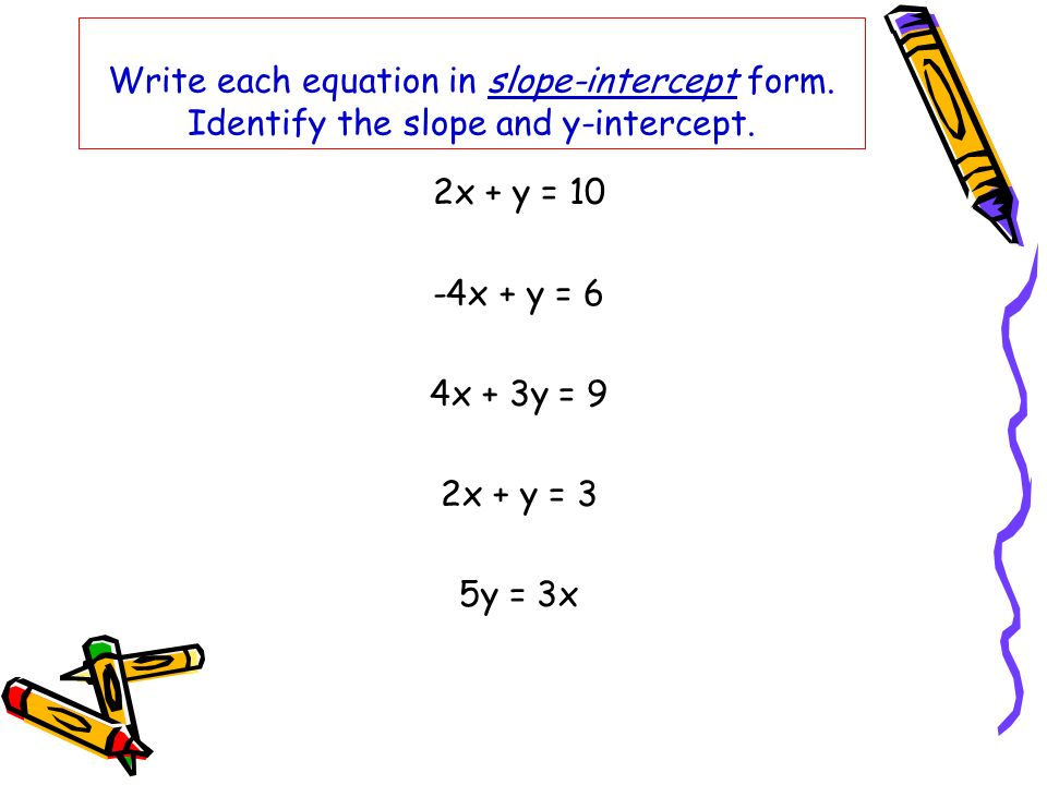 Write each equation in slope-intercept form