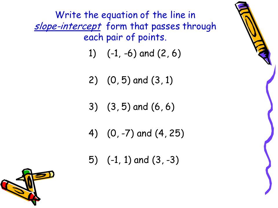 Write the equation of the line in slope-intercept form that passes through each pair of points.