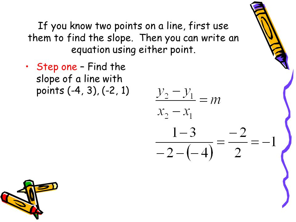 If you know two points on a line, first use them to find the slope