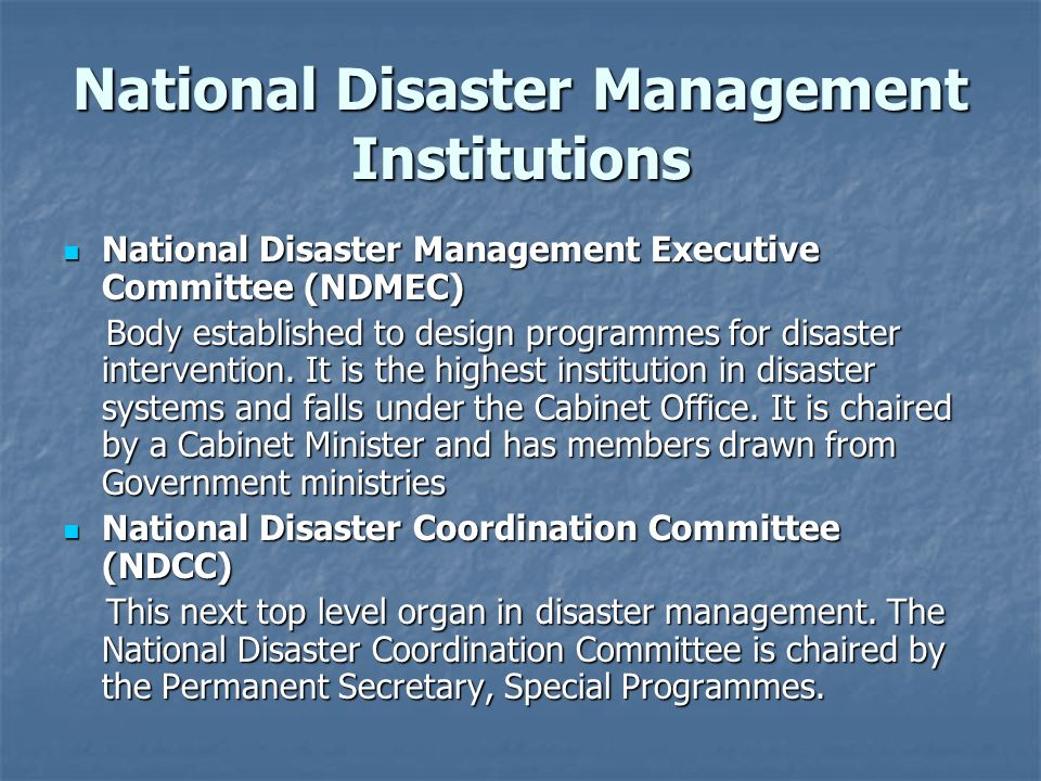 National Disaster Management Institutions