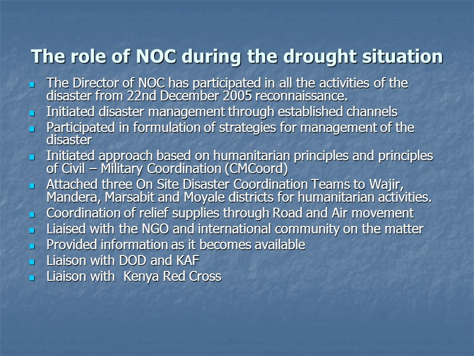 The role of NOC during the drought situation