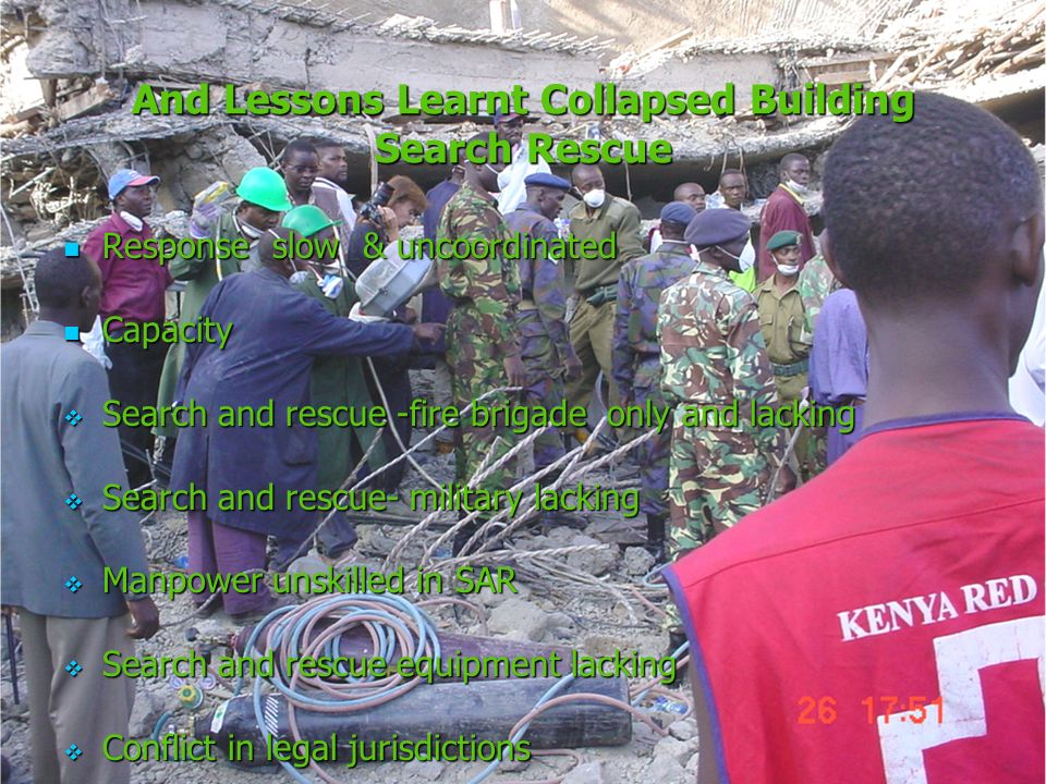 And Lessons Learnt Collapsed Building Search Rescue